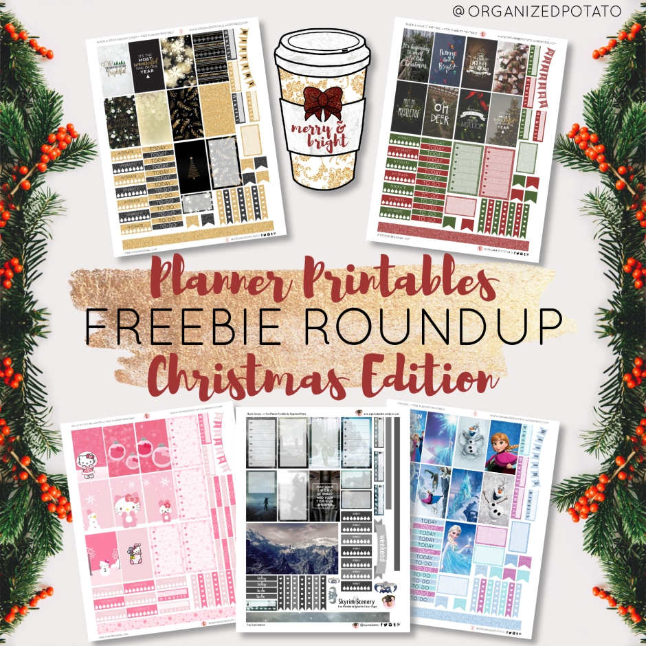 Freebie Roundup! Planner Printables: Christmas Edition. Includes weekly kits for the Classic Happy Planner AND clip art! Some of the weekly kits feature themes like Frozen, Hello Kitty, Skyrim, Black and Gold Glitter, and more traditional Christmas photography!