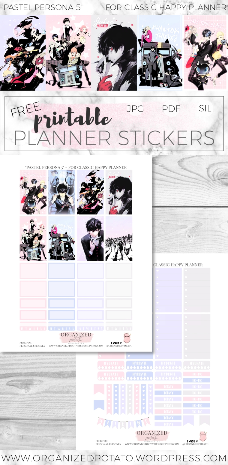 Pastel Persona 5 DIY Planner Printable Stickers for Classic Happy Planner by Organized Potato. Features gorgeous pastel images of Joker, Panther, Skull, Morgana, Beauty Thief, Fox, Queen, and Oracle.
