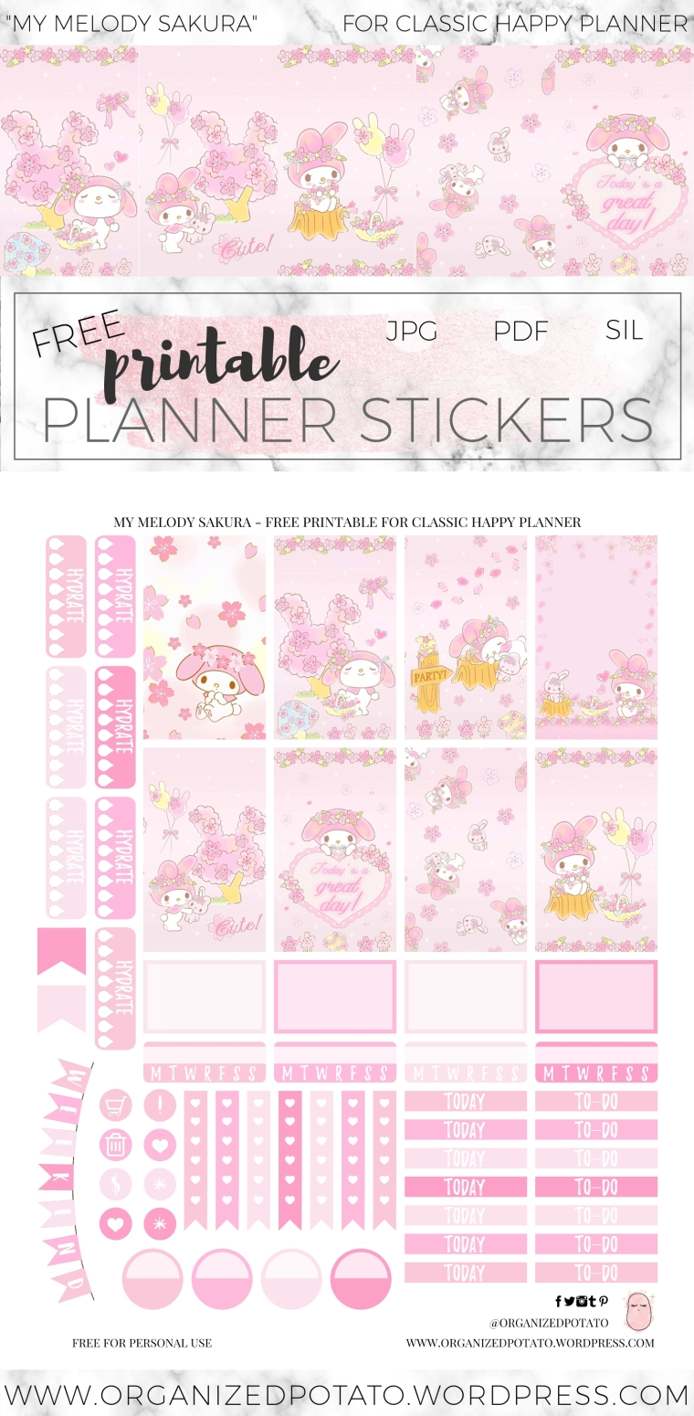 My Melody Sakura Free DIY Planner Printable Stickers for Classic Happy Planner by Organized Potato. Features gorgeous pastel images of cherry blossom petals with pastel pink and pastel yellow colors (aka light pink and light yellow). Gorgeous for spring time!